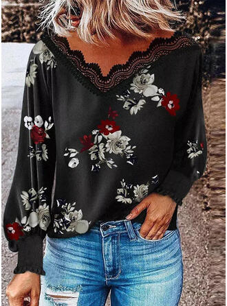 Print Floral Lace V-Neck Long Sleeves Lantern Sleeve Casual Blouses