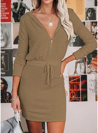Solid Long Sleeves Bodycon Above Knee Casual Skater Dresses