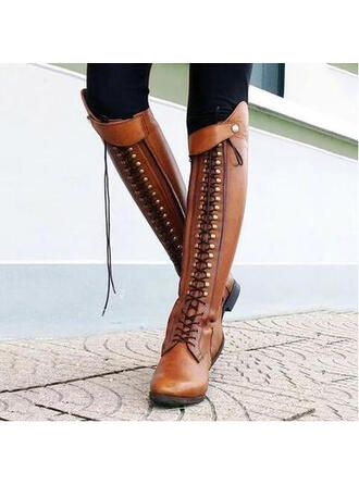 Women's Leatherette Chunky Heel Boots Over The Knee Boots Pointed Toe With Rivet Zipper shoes