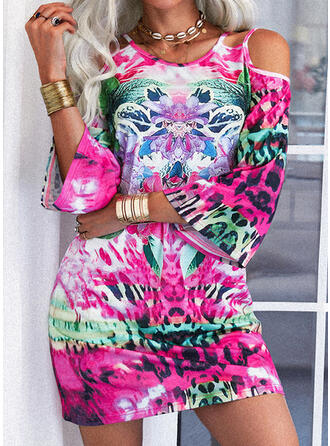 Print/Floral 3/4 Sleeves Shift Above Knee Casual Tunic Dresses