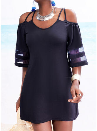 Solid 1/2 Sleeves Sheath Above Knee Little Black/Casual Dresses